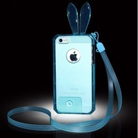 Luxury Soft Clear TPU Cover Case For iPhone 5 5S 5G Top Quality Cute Transparent Rabbit Bunny Protective Cases Chain