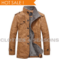 New 2014 Winter Male Fur stand Collar Thicken And Warm Windbreak Waterproof Leather Jackets PU Leather Coat Men's Leather Jacket