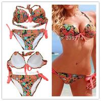 BK128 Women Bikini Beach Swimwear Fashion Sexy Print Swimwear Good Quality Hot 2014 Ladies Bikini Set Swimsuit Drop Shipping