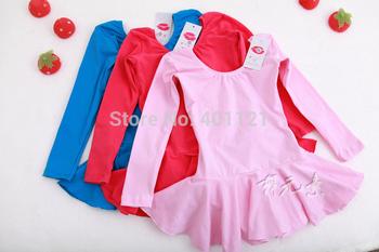 Горячая распродажа 3 цветов хлопка лайкра длинные рукава балета купальник для детей балетной одежды gril балетное платье