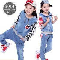 Good Quality New 2014 Autumn Girls Sportswear Suits Children's Sports Suit Cowboy Baby Clothing Sets conjunto de roupa conjuntos