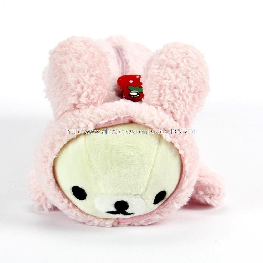 Anime Pink Bear Rilakkuma plush toys coin purse Rabbit Cartoon Pen Box Pencil Case Cosmetic Plush Storage Bags Pouch Holder(China (Mainland))