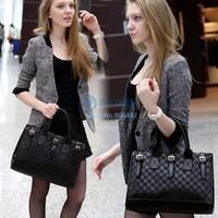2014 High Quality Women's Girls Fashion Black PU Leather Handbag Tote Shoulder Bag Cross-body Bag Briefcase SV18 6796