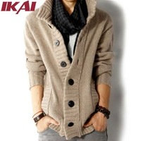 Mens Sweaters Thick Knitted Fashion Men Casual Cardigan Brand Solid Cashmere Knitwear Long Sleeve Men's Sweater SMF027-2