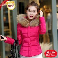 2015 women winter jacket coat parka fur collar down jackets and coats plus size womens fashion outwear short down-jacket brand