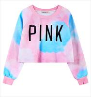 2015 fashion Europe street and skateboard gradient tie dye cream Harajuku short navel pink  Hoodies Sweatshirts