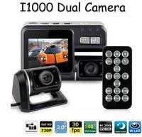 Dual Lens Camcorder i1000 Car DVR Dual Camera HD 1080P 2.0 inch Black Box With Rear 2 Cam Vehicle View Dashboard Cameras