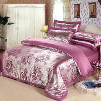 New.Luxury Palace Noble silk tencel satin Jacquard bed linen bedding set Queen king size bedclothes  duvet cover set