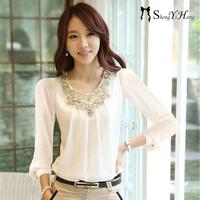Blusas Femininas 2014 New Fashion Women Camisas Ladies Casual Long Sleeve Blouse Chiffon Shirt Plus Size XXL XXXL Tops Blouses