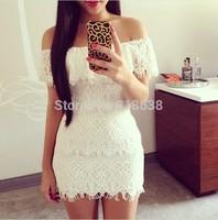 2014 New Arrival top quality  Women Summer Dress White off shoulder peplum Lace Dress Mini Dress wholesale