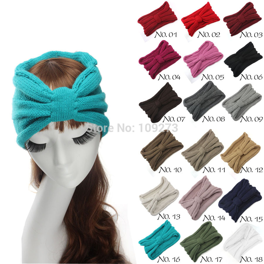 18 Colors Turban Headband Women Fashion Fall Winter Knot Knitted Crochet Hair Accessories Ear Warm(China (Mainland))