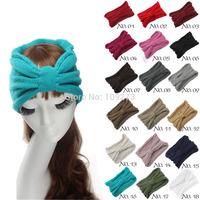 18 Colors Turban Headband Women Fashion Fall Winter Knot Knitted Crochet Hair Accessories Ear Warm