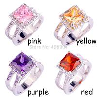 Wholesale Fashion AAA Jewelry Emerald Cut Cut Pink Topaz & Garnet & Amethyst & Morganite 925 Silver Ring Size 7 8 9 10