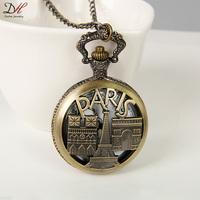 Unique Best Gifts Men Pocket Jewelry Classic Fashion Paris Scene Quartz Pocket Watch Necklace, NC4283