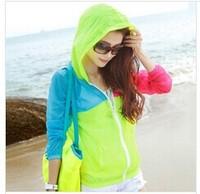 3pcs/lot  zipper thin breathable sun protection clothing beach clothing long-sleeved shirt short paragraph air conditioningfy166