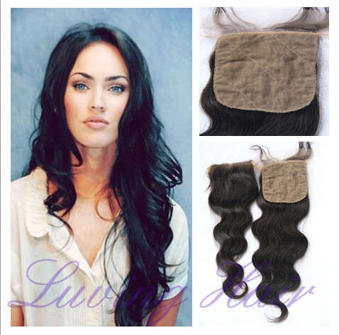 4*4 Virgin Lace Closure Brazilian Human Hair Body Wave Free Middle 3 Part Silk Lace Front Closure Free Shipping Bleached Knot(China (Mainland))