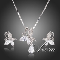 Cute Butterfly Swiss Cubic Zirconia Tear Drop Pendant Necklace and Stud Earrings Jewelry Sets FREE SHIPPING!(Azora TG0141)