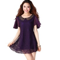 Large size women fat MM doll collar lotus leaf sleeve short sleeve hollow lace chiffon dress 9514-D1