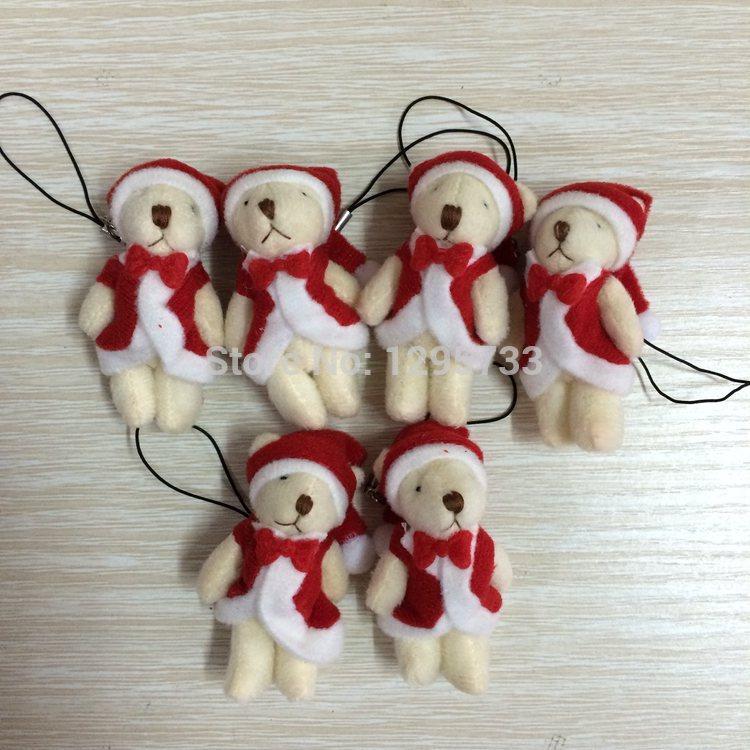 hot sale H-6.5cm christmas mini joint bear mini plush bear cartoon bouquet bear,keychain toys(China (Mainland))