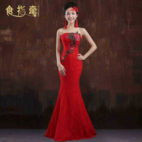 Cheongsam dress autumn and winter red bride evening dress chinese style vintage fish tail wedding dress long design weddingwear