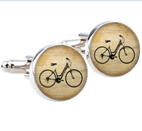 1 Pair Free Shipping Vintage bicycle Cufflinks Silver plated Antique bike Cuff links men and women  ,classical gold cufflinks