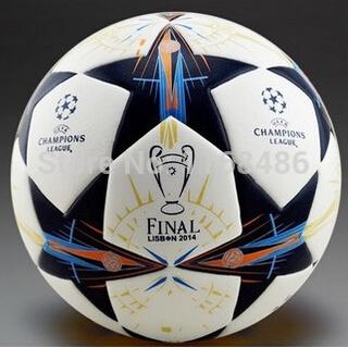 2014 Lisbon final Champions league soccer ball seamless PU granules slip-resistant size 5 Football White(China (Mainland))