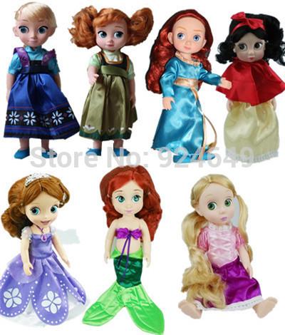 Free shipping 30cm Doll Anna and Elsa Dolls Sofia and Tangled Princess Snow White,Brave Melinda Princess The Mermaid toy(China (Mainland))