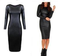 New Autumn 2015 Sexy Women Clubwear PU Dress Leather Look Long Sleeve Crew Neck Party Midi Winter Dress 91