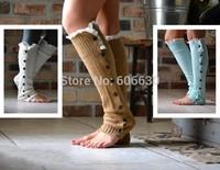 2014 Newest women girls leg warmers Button Down Boot Cuffs lace trim gaiters Boot Socks Crochet Leg Warmers Knit Leg Warmers