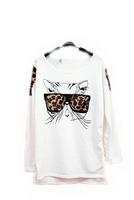 New Arrival 2014 Fashion Women Dress Cotton Trendy NaluLa Women Clothes Tops Tees T shirt Leopard Glasses Kitten T-Shirts QZ16