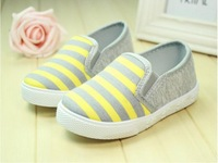 Free shipping 2014 new fashion Kids sneakers child canvas casual shoes Stripe Printed boy/girl's autumn a pedal Cloth/Plimsolls