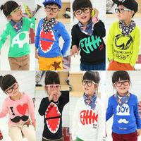 Min. Order Qty any 2pcs in my shop pls SZ100~140 Child Tops tees boys girls Cartoon Long Sleeves T shirt  Children T-Shirts