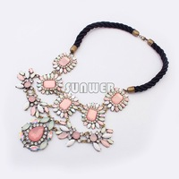 2014 Women Big Pendant Necklaces Lasies luxury Party Wearing Jewelry Casual Rhinestones Rope Chain Choker Necklace b6 sv008134