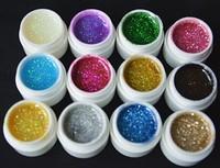 hot 12 Color Glitter uv gel Builder Polish Set Tips nail tools gel for nail art