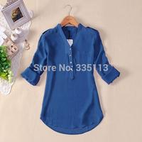 S-4XL 7 Plus Sizes Women Chiffons Blouse Camisas Blusas Femininas 2014 Ladies Long Sleeve Sheer Summer Autumn Casual Shirt