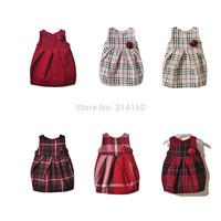 BILIBAYA 2014 Baby Girl Fashion Clothing Kids Plaid Autumn Dresses Girls Flower Dress Baby Sleeveless Dress 1pcs Free Shipping