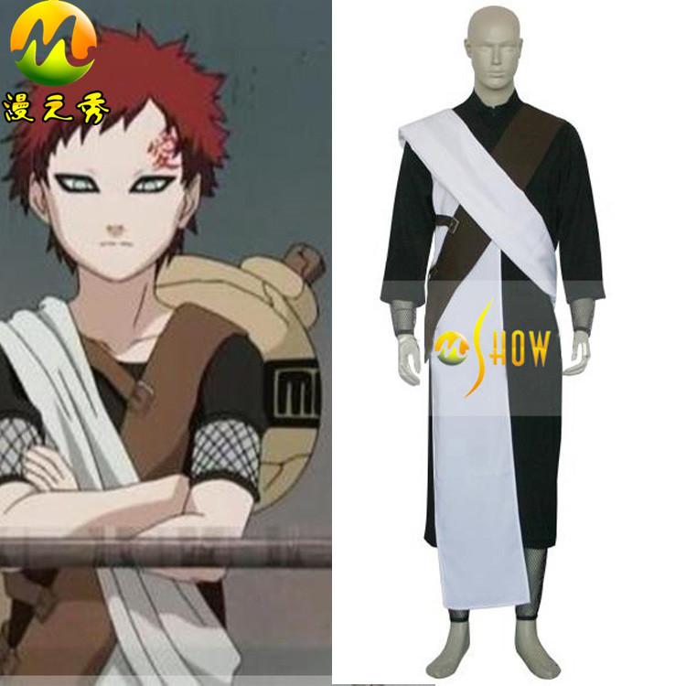 Anime Naruto Cosplay Individual Naruto Shippuden Gaara Chunin Exam Men's Cosplay Costume Black and White Customized S-XXXL(China (Mainland))