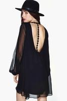 Sexy Black Back deep V halter Chiffon dress Long sleeve Women Embroidered Knit European Summer Dresses vestido de festa
