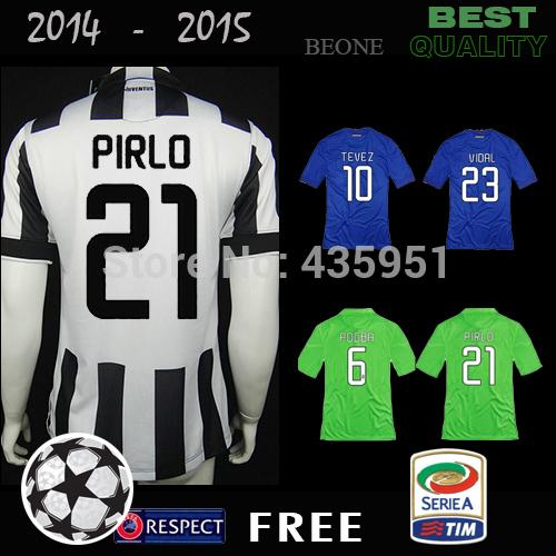 TOP Quality 14 15 Player version Embroidery PIRLO POGBA TEVEZ VIDAL 2015 Soccer Jersey camisetas de futbol / Can Customize(China (Mainland))