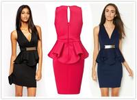 Beauty online 2014 New Sexy Deep V Ruffle Peplum Dress with Metal Plate LC21627