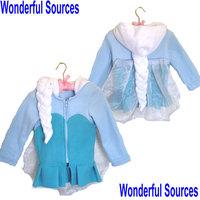 2014  Snow Queen Elsa coat girls  Hoodies Elsa costume braid jacket clothing for children girls hoodies Fleece baby & kids coat