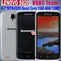 Original Lenovo S820 LenovoS820 4.7 inch IPS 1280x720 pixels MTK6589 Quad Core 1.2GHz 1G 4GB 2.0MP 13.0MP Camera Dual SIM GPS