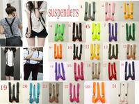 Suspenders 1 PC New Mens Womens Unisex Clip-on Suspenders Elastic Y-Shape Adjustable Braces Colorful 26 kind colors u choose