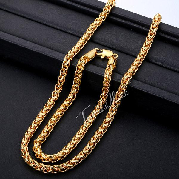 [해외]?/ Jewelry 5MM Mens Womens Chain Wheat Spiga Yello..