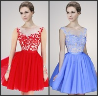 2014 New Sexy Cap Sleeves Bateau Neckline Beaded Lace Short Mini Cocktail Party Dress Prom Dress Homecoming Dress 2014 under 100