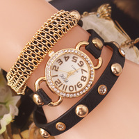 2014 New Fashion PU Leather Strap Wrap Watches Wristwatch Golden Case Chain Dress Women Rhinestone Watch -SL06
