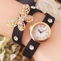 New 2014 Fashion Crystal Butterfly Wristwatch For Women Dress Watches Vintage bracelet watch SL05