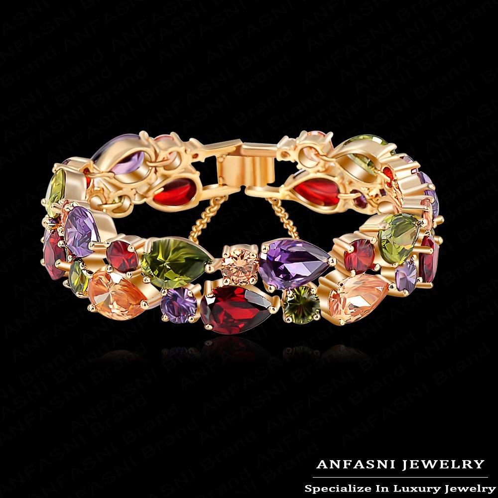 Multicolored Bracelets & Bangles Beautiful Water Drop Shape Zircon Women Bracelet Real 18K Gold/Rose Gold Plated Luxury Bracelet(China (Mainland))