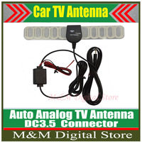 Hot!!!Factory Price Car Anolog TV Antenna Car TV Antenna TV aerial with amplifier booster DC3.5 connector free shipping