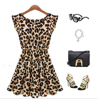2014 Hot Sale Summer Women's Clothing Sleeveless Round Collar Leopard Print Dress Cultivate One's Morality Free Shipping A002